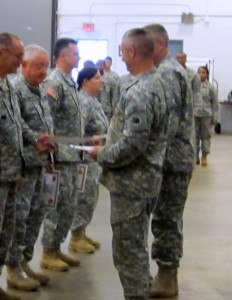 GSDF soldiers receive award certificates for their excellent service to the Georgia Army National Guard.