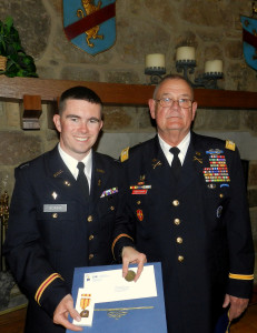 c/ MAJ James Adams with GSDF Chief of Staff COL Rusty Hightower in the Great Room of the Hoag Student Center.