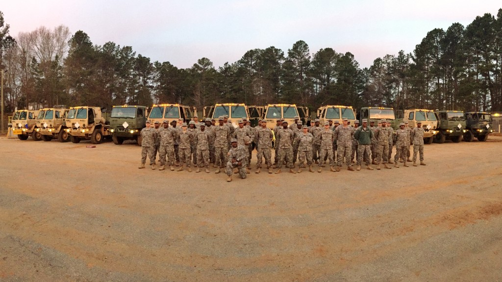 1177th TC and GSDF Soldiers prior to start of convoy operations supporting Operation Patriot Bandoleer.