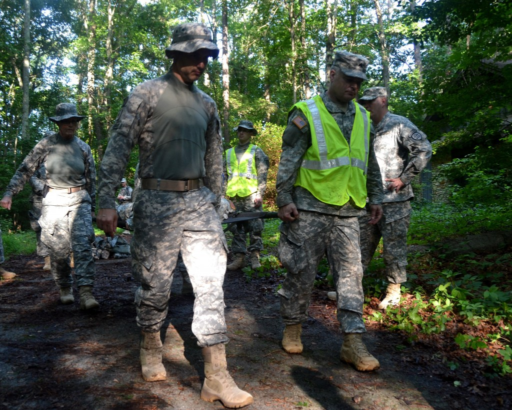 CLARK CREEK SOUTH CAMPGROUND, Acworth, June 6, 2015 – Soldiers of 2nd and 3rd Battalion, 1st Brigade, Georgia State Defense Force (GSDF) safely move a simulated casualty to a location where emergency services can reach him and evacuate him during Defender Northwest Georgia Field Training Exercise (FTX) 2015. The FTX tests the capabilities of the Soldiers and staff of the GSDF in their ability to respond to a disaster. (Georgia State Defense Force photo by Master Sgt. Mark D. Woelzlein, Public Affairs Office)