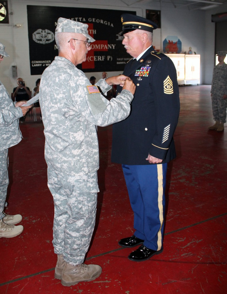 COL Brad Bryant and Parmenter during Retirement Ceremony at the Marietta Armory.