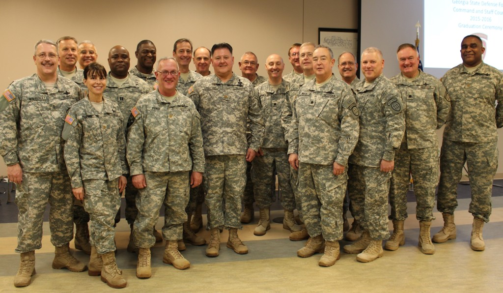 Cadre and graduates of the GSDF Command and Staff Course during the ceremony. Georgia State Defense Force photo by Pvt. Beverly Shepard, Public Affairs Office