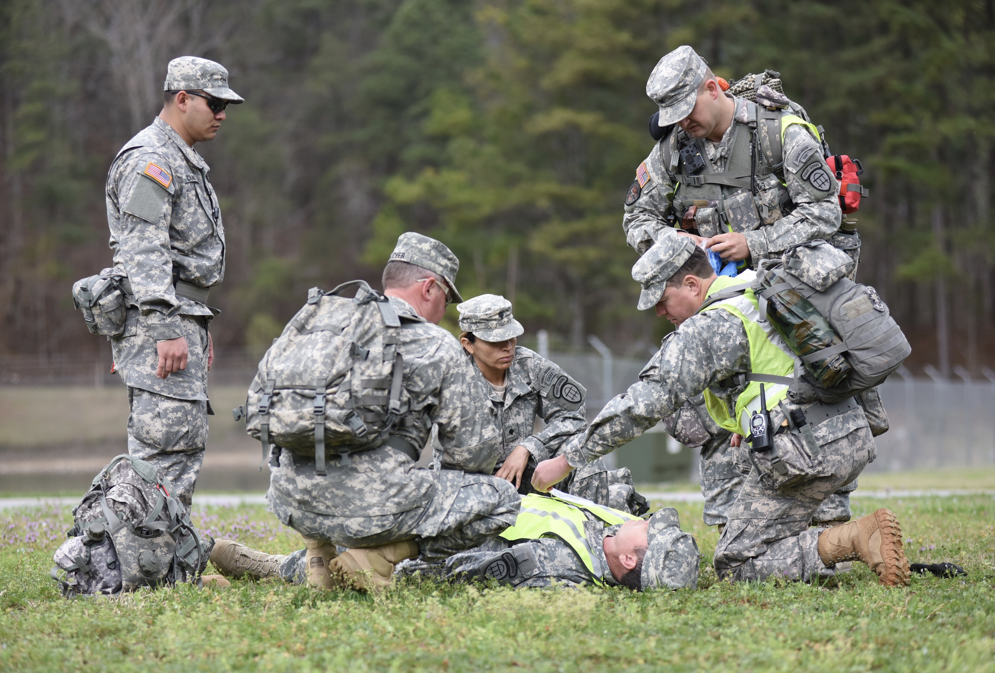 LAKE LANIER, Buford, Ga. Mar. 19, 2016 – Search team makes preliminary condition assessment of a casualty victim from the mock plane crash. The GSDF, Civil Air Patrol and United States Coast Guard Auxiliary joined the Multi-Agency Search & Rescue Mission to exercise the collaboration during the emergencies. Georgia State Defense Force photo by Pfc. Alexander Davidson
