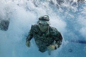 GSDF SGT Roger Boles of 1BDE / 3BN completes one of the many skill exercises required as part of the water survival training program.  Georgia State Defense Force Photo | Released.