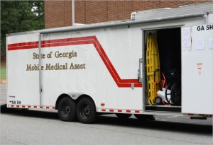 """This Georgia Department of Public Health """"Mobile Medical Asset"""" trailer contains equipment and supplies for erecting a field hospital.  (Georgia State Defense Force photo by Chief Warrant Officer 2 Clunie)"""