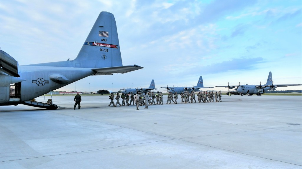 Georgia State Defense Force Soldiers board a C-130 Hercules during Annual Training at the Air Dominance Center near Savannah, Georgia on October 1, 2016. (Georgia State Defense Force photo by Pfc. Alsdorf)