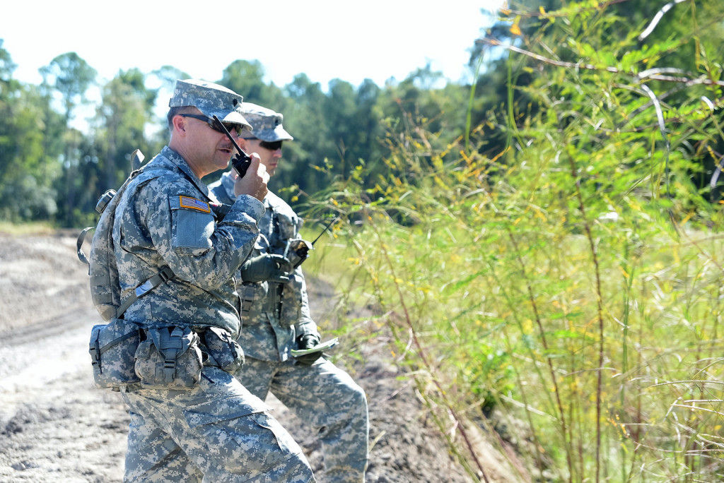 Georgia State Defense Force Soldiers call-in a situation report to the tactical operations center while conducting a search and rescue simulation during Annual Training on October 1, 2016 at Fort Stewart, Georgia. (Georgia State Defense Force photo by 2nd Lt. Chapman)