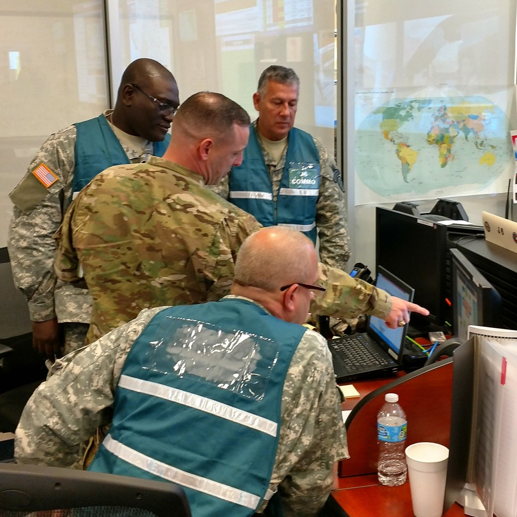 Members of the Georgia State Defense Force and the Georgia Army National Guard work together in the Joint Operations Center in Marietta, Georgia during the response to Hurricane Matthew on October 8, 2016. (Georgia State Defense Force photo by Pfc. Alsdorf)