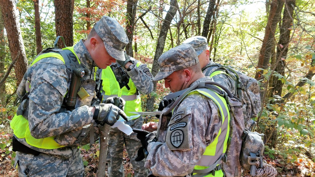 Members of the Georgia State Defense Force confirm their location before searching another grid section during a search and rescue mission in Pickens County, Georgia on October 22, 2016. (Georgia State Defense Force photo by Pfc. Alsdorf)
