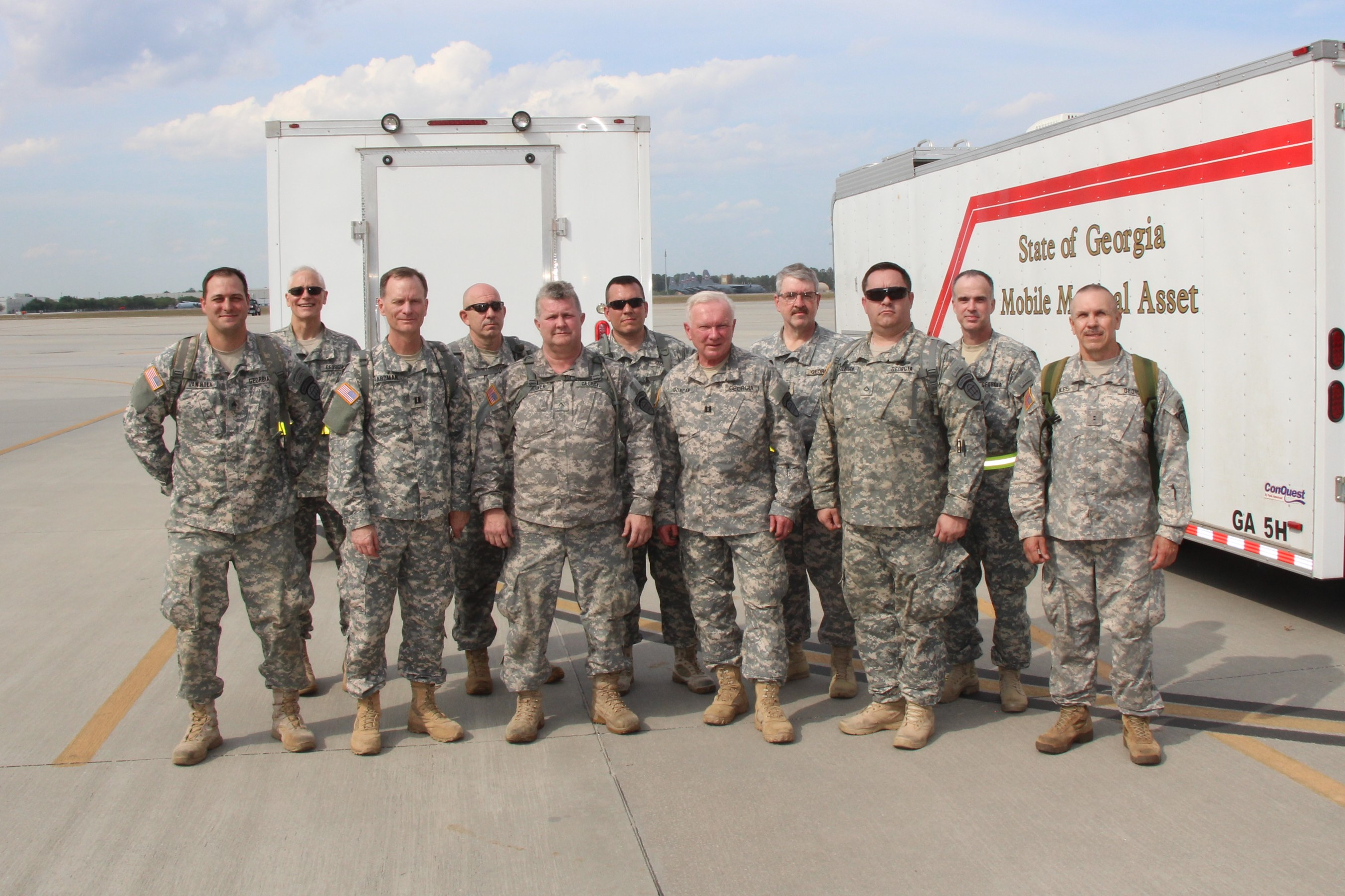 GA SDF Mobile Hospital Task Force at Air Dominance Center March 29, 2017, during the Vigilant Guard 2017 exercise March 29, 2017, at Air Dominance Center in Savannah, GA. Vigilant Guard 2017 Georgia is a multi-state multi-agency training exercise, sponsored by U.S. Northern Command, in collaboration with the National Guard Bureau.  Georgia State Defense Force photo by Capt. Vadim Timchenko.