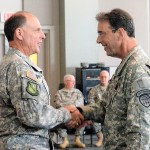 Brig. Gen. Tom Danielson  presents the Georgia State Defense Force Meritorious Service Medal to Capt. Clark Howard at Clay National Guard Center in Marietta, Georgia, July 9, 2017. Georgia State Defense Force photo by Chief Warrant Officer 2 Raymond Clunie