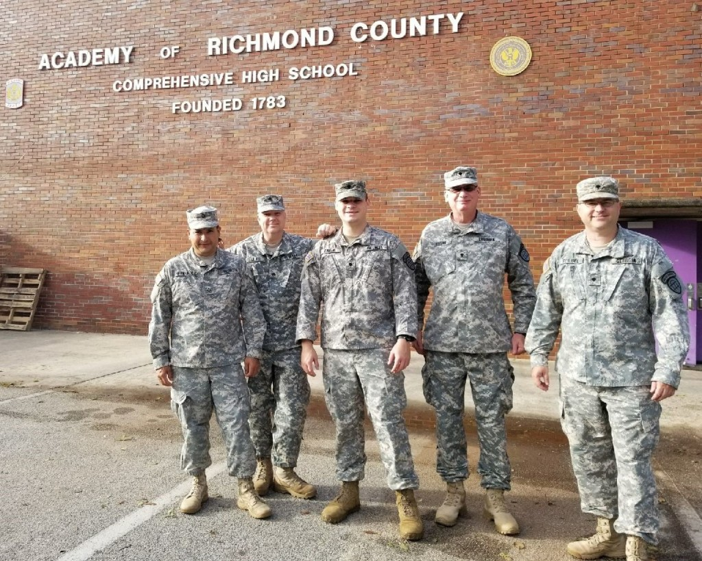 Members of 1st Brigade, Georgia State Defense Force, outside the Academy of Richmond County which was repurposed as an American Red Cross shelter during Hurricane Irma. Georgia State Defense Force photo by Sgt. Sandra Ibarra