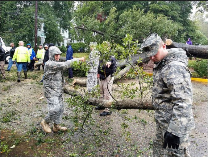 Soldiers from the Georgia State Defense Force 1 st Brigade help local authorities clear debris from the road in the wake of Hurricane Irma. Georgia State Defense Force Photo by Sgt. Sandra Ibarra