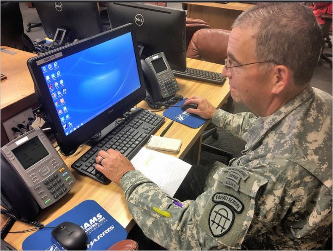 In preparation for Hurricane Irma, a Georgia State Defense Force Soldier works in the Macon-Bibb Emergency Operations Center on September 8, 2017. Georgia State Defense Force photo by Spc. Kerry Hatcher